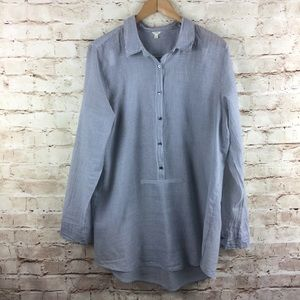 J. Crew Women's Button Down Pinstripe Top Large